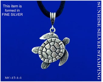 Turtle Necklace, Fine Silver Turtle Pendant, Silver Sea Turtle Necklace, Metal Clay Jewelry, PMC, Turtle Lover Jewelry, Sea Life Pendant