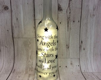 Memorial led wine bottle Wedding remembrance gift, remembering a loved one at a wedding, memorial  sing heaven
