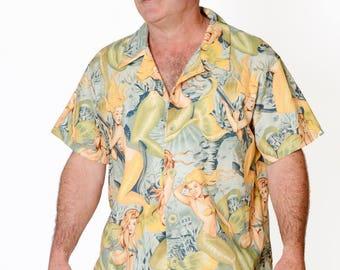 Feak Shirt for Men Mermaid Print Yellow, Hawaiian Shirt, Hawaiian Shirt Men, Mens Hawaiian Shirt, Yellow Mermaid Shirt, Summer Surf Shirt