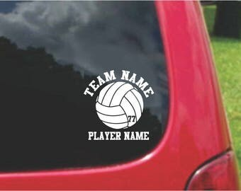 31  Volleyball  Sports Decals with custom text 20 Colors To Choose From.  U.S.A Free Shipping