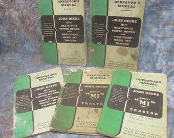 John Deere Tractor Operators Manuals Model MI OM-TMI1-750 OM-H29-251 Vintage