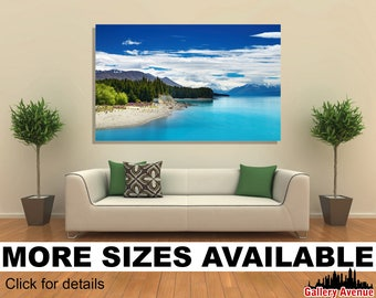 Wall Art Giclee Canvas Picture Print Gallery Wrap Ready to Hang Pukaki lake, New Zealand 60x40 48x32 36x24 24x16 18x12 3.2