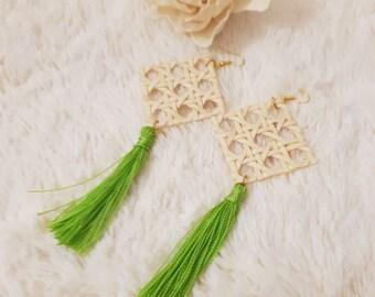 Wicker & green tassel