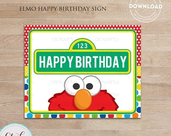 50% OFF SALE Elmo Happy Birthday Sign,  Party Printable Sign, Door Sign, Birthday party decorations, Party supplies INSTANT Download