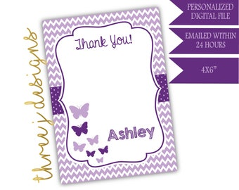 Butterfly Baby Shower Thank You Card - Personalized - Plum and Lavender - Digital File - J004