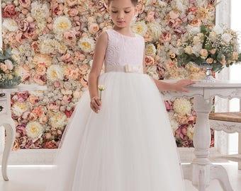 Blush Pink Flower Girl Dress -- Blush Pink Floor Length Tulle Dress