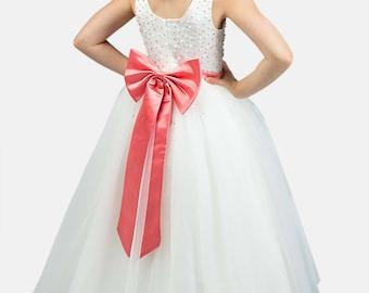 Coral Flower Girl Dress -- Coral Floor Length Tulle Dress -- Girls Tulle Dress