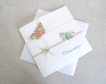 Make original birth announcement for twins, pink, green Japanese paper origami birds top range