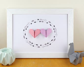 Poster A4 graphic pink and lilac origami hearts - baby gift baby girl's room wall decor