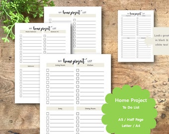 Home Project Planner Printable Pages, A5, Half Page, Letter, A4, Filofax, Kikki K