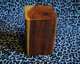 Hand made wooden box with swinging hinge lid