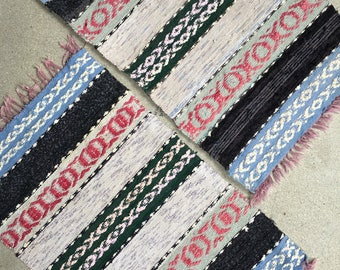 A pair of Vintage Swedish rag rugs or Svenska Trasmattor folk traditional