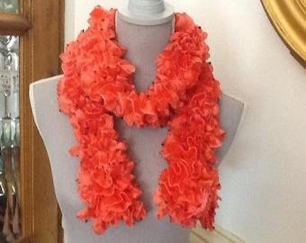 Scarf, ruffled scarf wool hand made orange tone