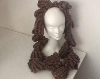 Handmade Brown wool Burgundy ruffled scarf