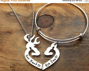Her Buck His Doe Necklace & Bangle Gift Set, Gift Set for Couples, His and Hers Deer Necklace and Bangle, His Doe Bangle, Her Buck Necklace