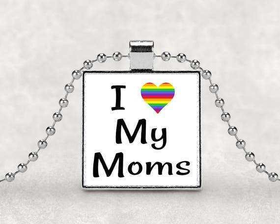 I love my Moms pride pendant necklace