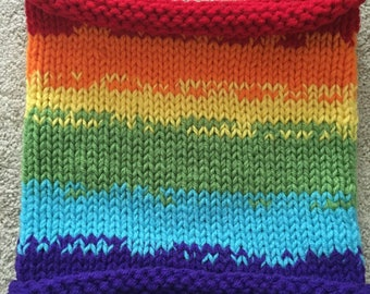 Double Rainbow|  Cowl Scarf, Unique Cowl Scarf, Fall Scarf, Winter Scarf, Infinity Scarf, Rainbow Scarf, Loop Cowl, - Ready to Ship!
