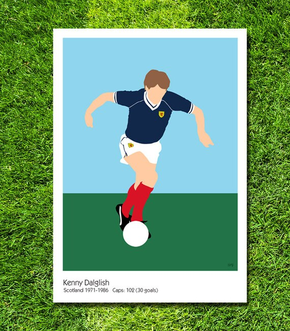 Kenny Dalglish // Scotland // Football // Soccer // Minimalist Poster // Unique A4 / A3 Art Print