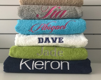 Personalised Embroidered  Bath Towel Swimming Gym  ANY NAME