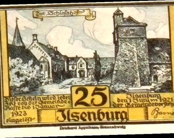 1923 Germany ILSENBURG 25  Pnennig  Notgeld / Banknote