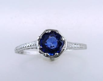 Vintage Antique 1.00ct Solitaire Sapphire Platinum Deco Engagement Ring