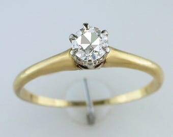 Vintage Antique .35ct Diamond Solitaire 18K Yellow Gold Art Deco Engagement Ring