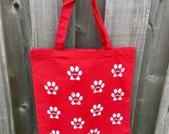 Red Canvas heart paw print tote bag