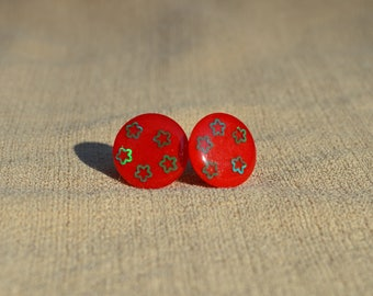Red and Green Christmas Stud Earrings, Resin Jewelry