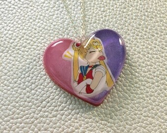 Sailor Moon Heart Necklace - Pink and Purple #3