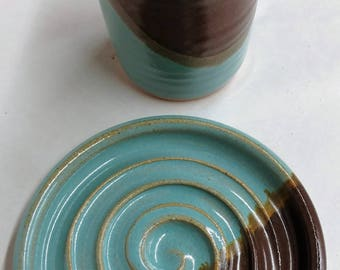 Ready to Ship -  Handmade Ceramic Soap Dish and Small Tumbler, Bathroom Accessories