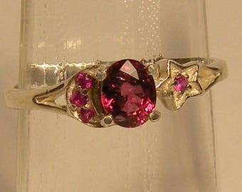 RARE! Beautiful red spinel natural & ring sterling silver 925 size 6.5