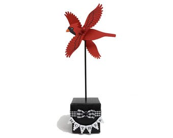 Cardinal Whirligig, Mother Birthday, Gift Ideas For Mom, Birthday Gift To Mom From Son, Unique Gifts For Mom,Gifts For Parents,Mother Bird