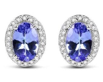 0.87 Carats Genuine AAA Tanzanite and White Diamond 14K White Gold Earrings Fine quality