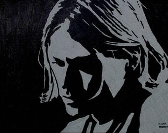 Kurt Cobain hand-drawn drawing / painting
