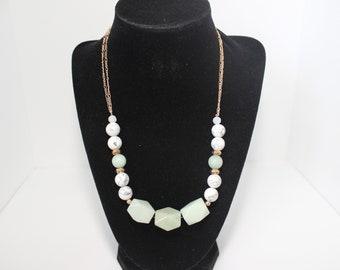 Genuine Amazonite and Howlite Necklace