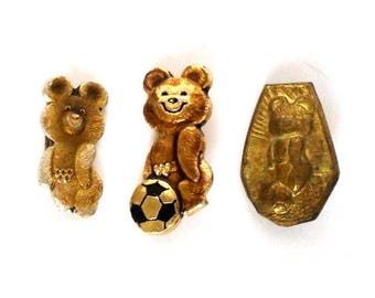 Vintage soviet sport pin badges, Olympic bears, made in USSR, 1980s