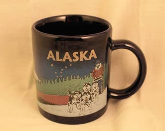 Alaska Travel Souvenir Coffee Mug/Cup Sled Dogs Team