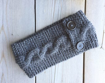 Knitted Cable Headband with Chestnut Buttons in Dark Grey