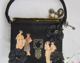 La France Applique Handbag Vintage 1960's Rose 20's French Ladies Charms Metal Flip Over Clasp Purse Accessory - Bag013