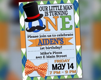 Orange Blue Green Birthday Invitation