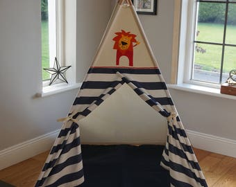 Kids Teepee play tent 'Tiger stripe teepee' Handcrafted in Ireland and ship worldwide. All poles inlcuded.