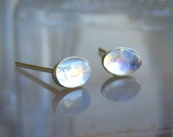 Rainbow Moonstone Stud Earrings - Silver Stud Earrings - Tiny Stud Earrings - Sterling Silver Moonstone Studs - Moonstone Jewelry