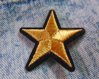 Gold Star Patch  Sew Iron on Black and Gold Embroidered Galaxy Space Theme Applique for Custom Jacket and Clothing Fabric Hot Fix Badge UK