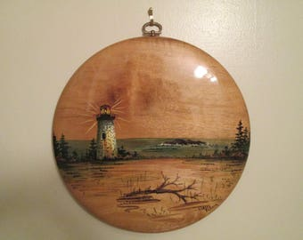 Vintage Hand Painted Myrtlewood Wall Art Plaque Unique Painting From Oregon Lighthouse Seascape Beach Seashore