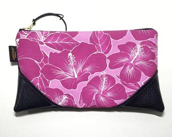 Large Fuchsia Hibiscus Zipper Clutch / Zip Pouch with Zipper Pull or Leather Wristlet Strap