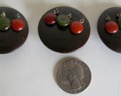 Vintage Buttons Fall Large Art Deco Dangles Fall Brown Set of 3
