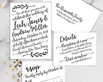 Boho Calligraphy Wedding Invitation Set / Modern Romantic Invite / Neutral Black & White, Monochromatic ▷Printed Invitations {or} Printable