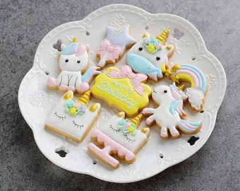 Magical Colorful Unicorn Cookies - 1Dz
