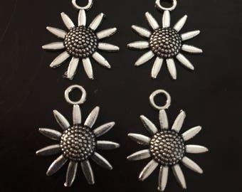 4PC Sunflower Charm-Flower Charm-Daisy Charm-Flower Pendant