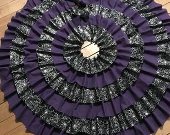 Purple Tree skirt, christmas tree skirt, halloween tree skirt, purple and black tree skirt